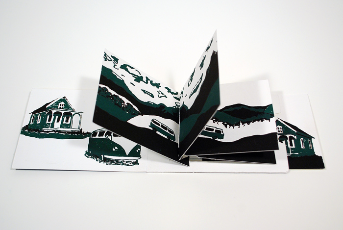 Pull tab book, screen-printed, Introduction to Book Arts, Spring 2012