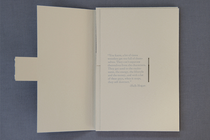 """Dead Wrestlers: Their Words,"" Artist Book (lithography and letterpress), 2015"