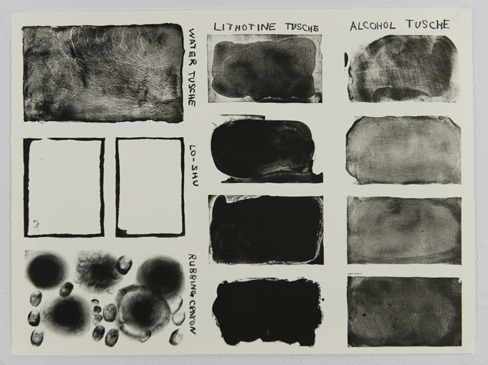 "Project 05, continued: Miscellaneous tests on stone: lo shu (failed), water tusche (more control--still not great), and solvent tusches (lithotine was too greasy and alcohol, which worked but I burned the top square while etching improperly), 15"" x 22"" Somerset, 12 impressions, 1 TP, 1 BAT"